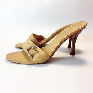 Leather heeled Slides